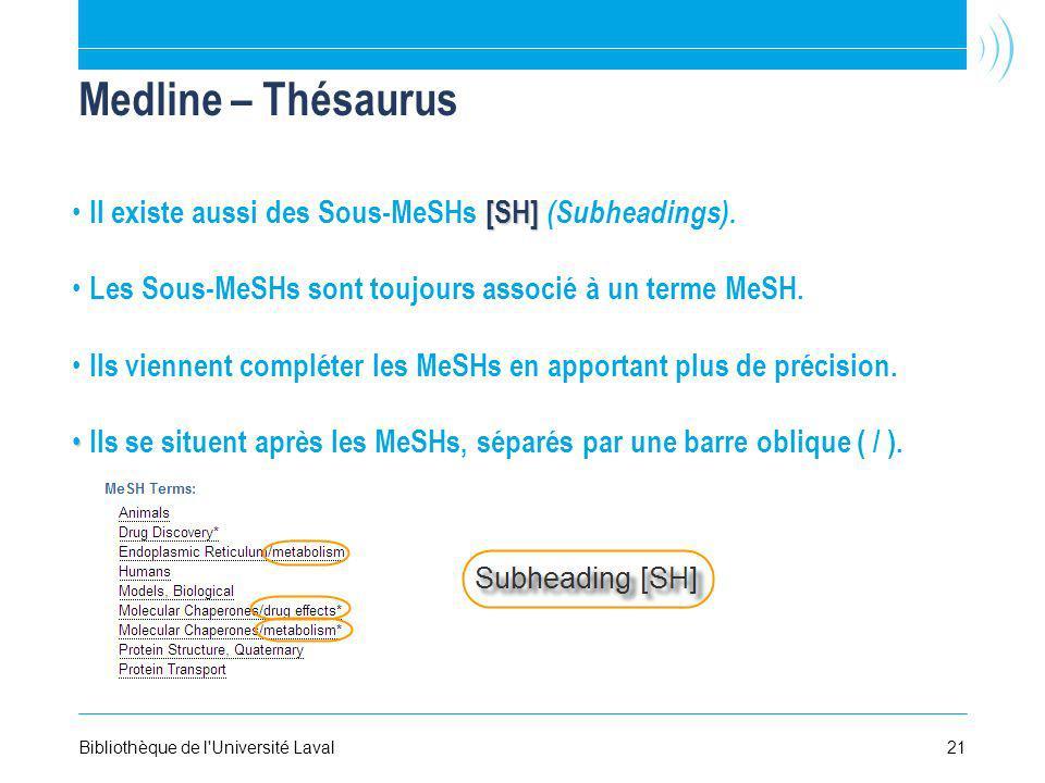 Medline – Thésaurus Il existe aussi des Sous-MeSHs [SH] (Subheadings).